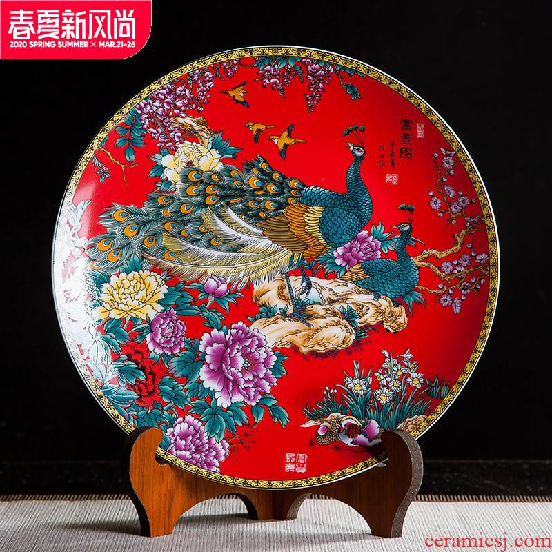 Jingdezhen ceramics Chinese red prosperous figure decoration hanging dish sit home wine rich ancient frame handicraft furnishing articles