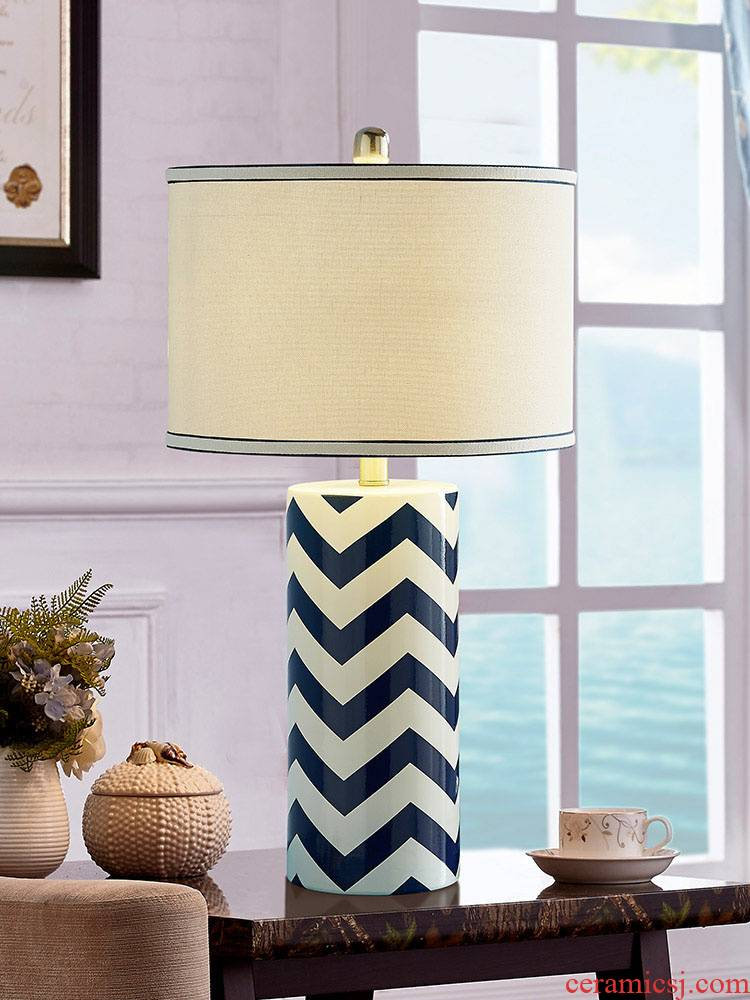 The Mediterranean blue ceramic European - style lamp lamp of bedroom The head of a bed modern Scandinavian minimalist decor of rural living room