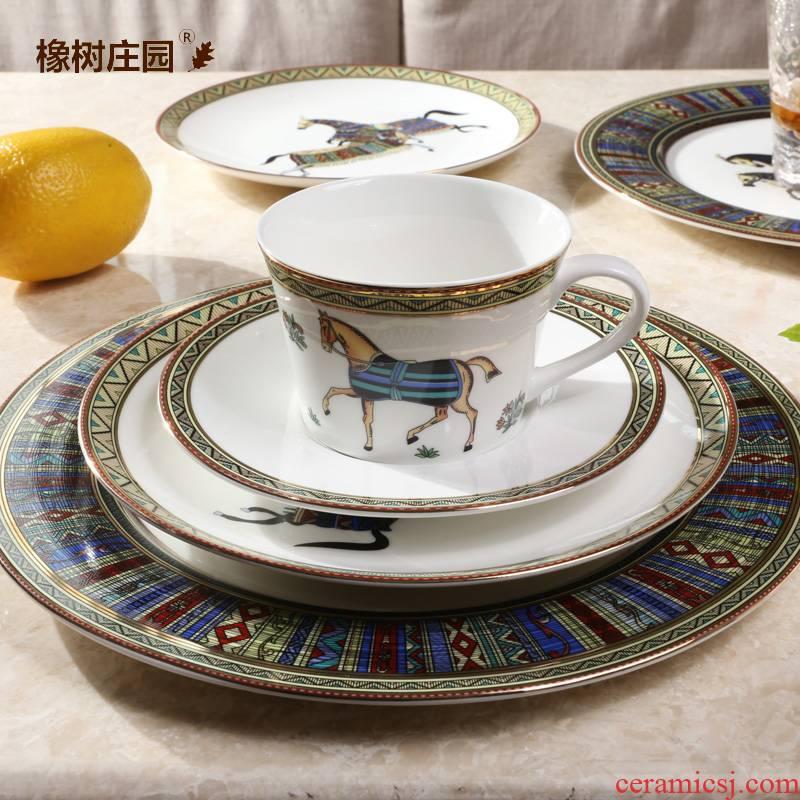 American high - end steak ipads porcelain plate tableware suit household dinner plate ins web celebrity European - style key-2 luxury plates