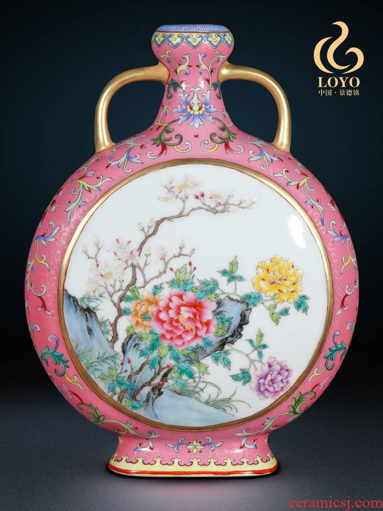 Jingdezhen ceramics powder imitation the qing qianlong pastel to open the vase on Chinese ancient frame sitting room adornment