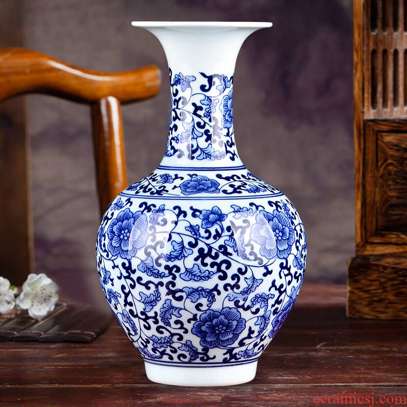 Jingdezhen ceramics hand - made of blue and white porcelain vases, flower arrangement archaize sitting room porch decoration of Chinese style household furnishing articles