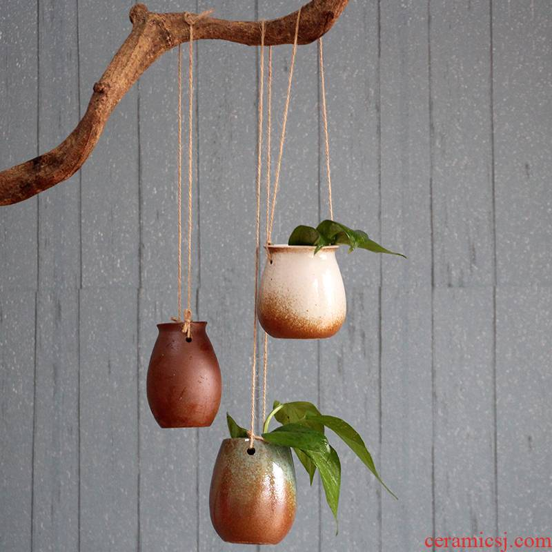The new zen Chinese stoneware bracketplant flowerpot gardening meaty plant money plant potted vase hemp rope hanging basket