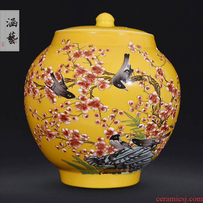 Jingdezhen ceramics hand - made vases, flower receptacle furnishing articles storage tank sitting room tea pot of new Chinese style decoration