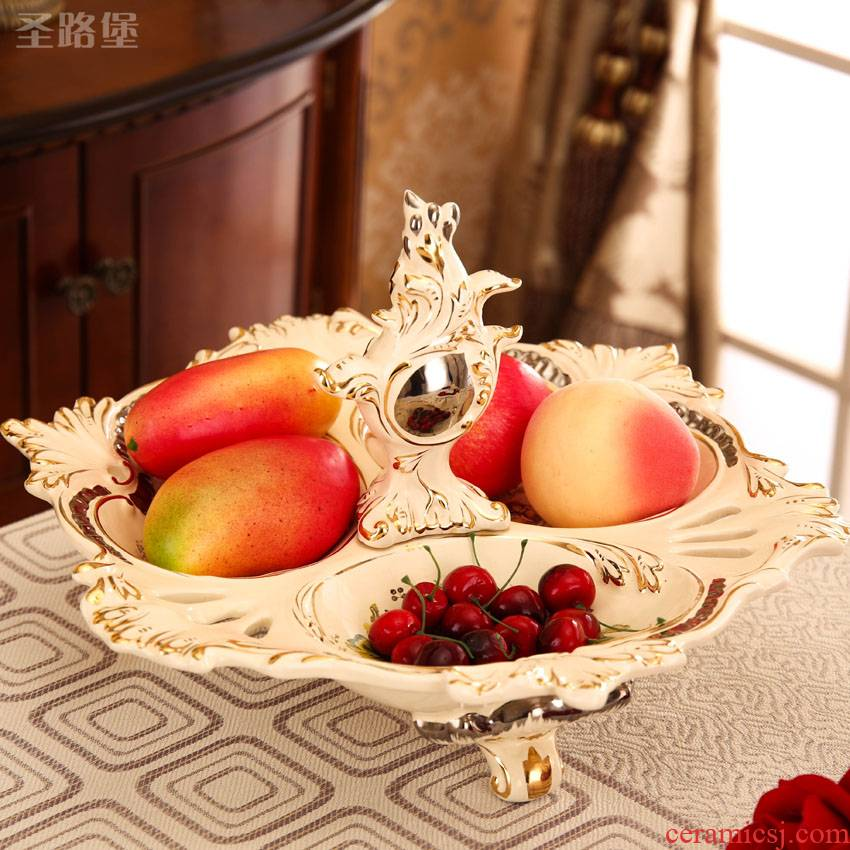 European ceramic creative dry fruit tray, fruit bowls I sitting room tea table three tray was furnishing articles wedding gift