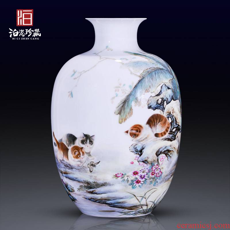 Jingdezhen ceramics hand - made pastel cat and rich ancient frame of Chinese style household decorative vase sitting room collection furnishing articles