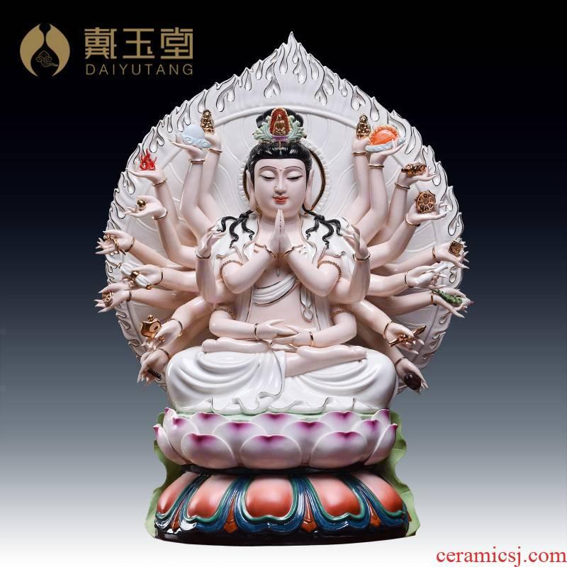 Yutang dai dehua ceramic white porcelain paint 22 inches 24 hand of guanyin Buddha enshrined furnishing articles/D17-109
