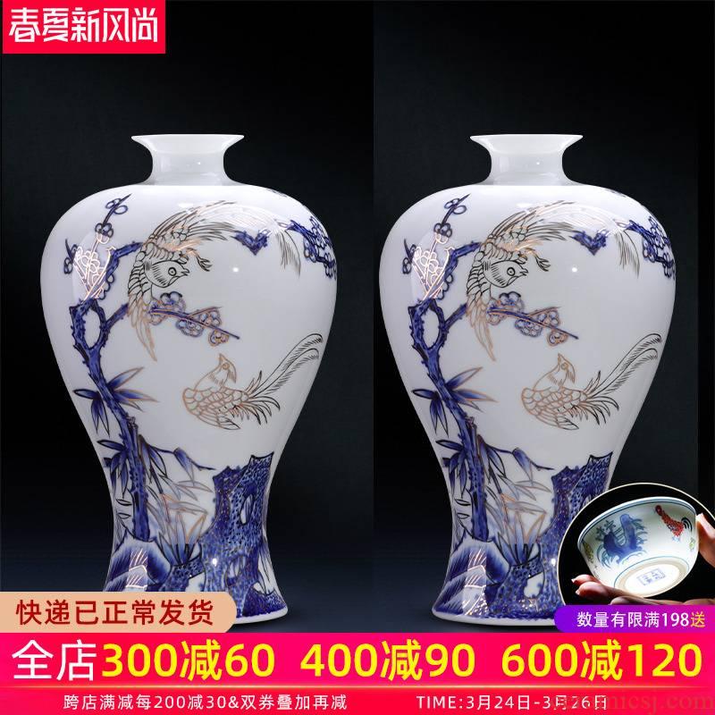 Jingdezhen ceramics vase the teacher manual hand - made paint modern Chinese style living room decoration gift porcelain