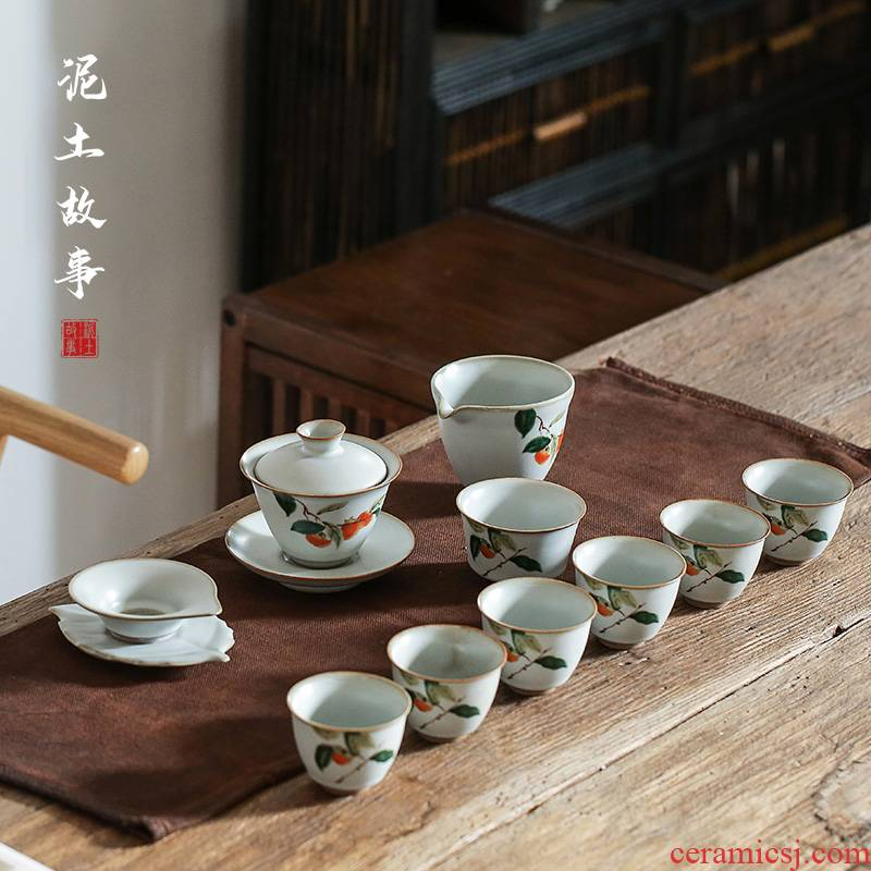 Earth story jingdezhen archaize which your up kung fu tea set tureen persimmon slicing can be raised