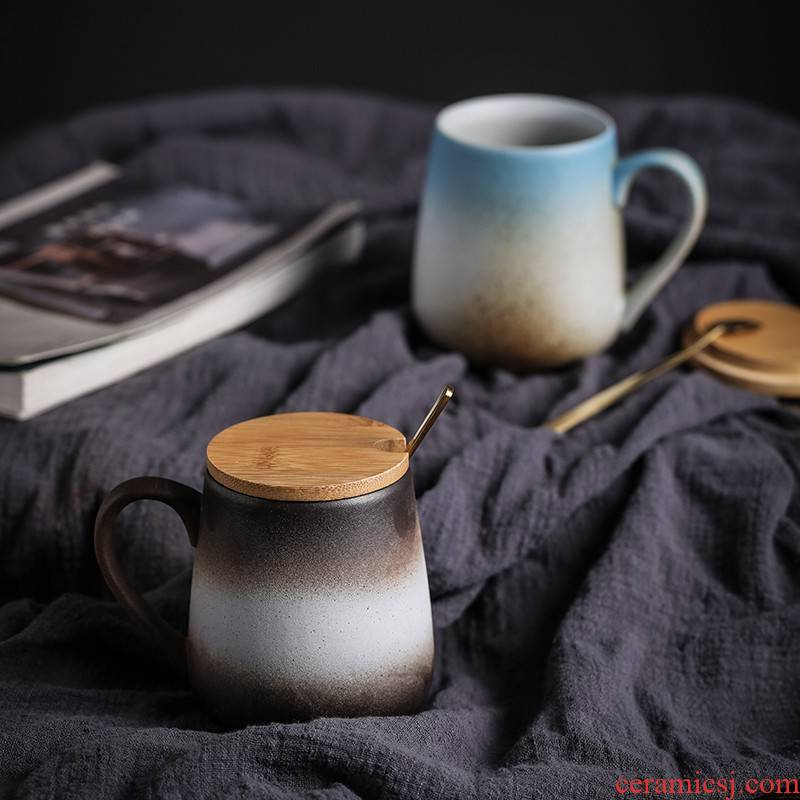 Japanese style restoring ancient ways mark cup with cover spoon coffee cup couples contracted personalization ceramic cup cup men 's and women' s cup