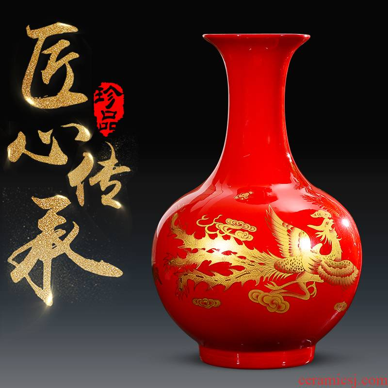 Jingdezhen ceramics vase sitting room place flower arranging new Chinese style Chinese red bottle of wine cabinet TV ark, adornment