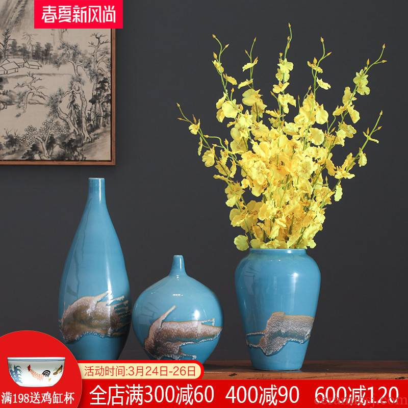 Jingdezhen creative modern new Chinese style three - piece ceramic vase furnishing articles flower arranging the sitting room TV ark, soft outfit decoration