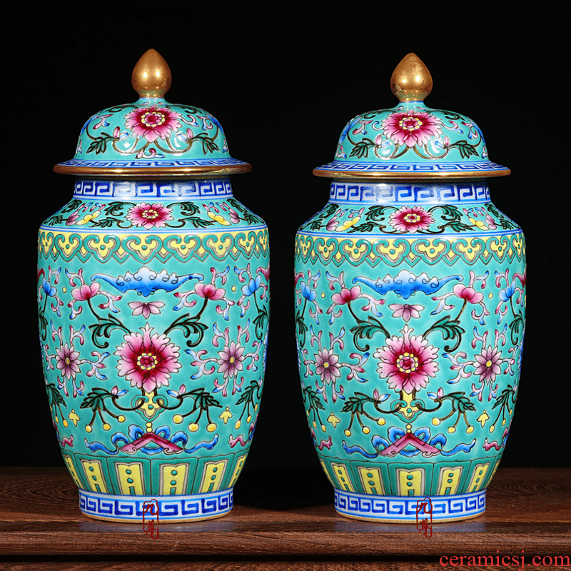 Jingdezhen floret bottle furnishing articles antique hand - made ceramic enamel pastel colored green lotus flower gift porcelain decoration
