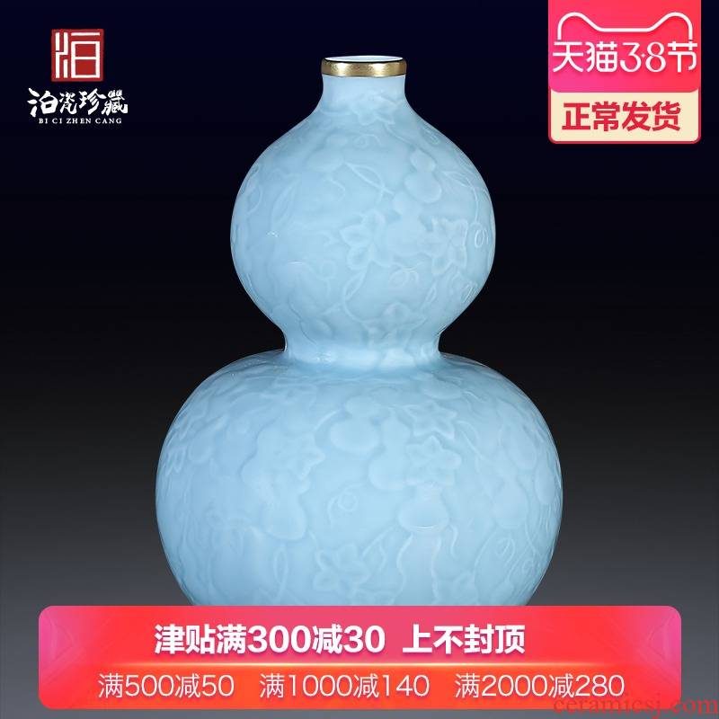 Sons of jingdezhen chinaware paint blue glaze carving ten thousand broke gourd bottle home sitting room adornment flower arranging furnishing articles