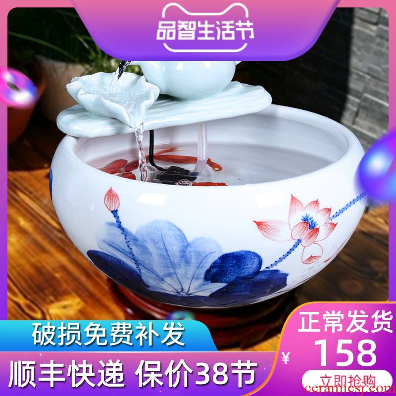 Authentic jingdezhen ceramic aquarium tank sitting room small tank water furnishing articles freehand brushwork in traditional Chinese feng shui turtle cylinder