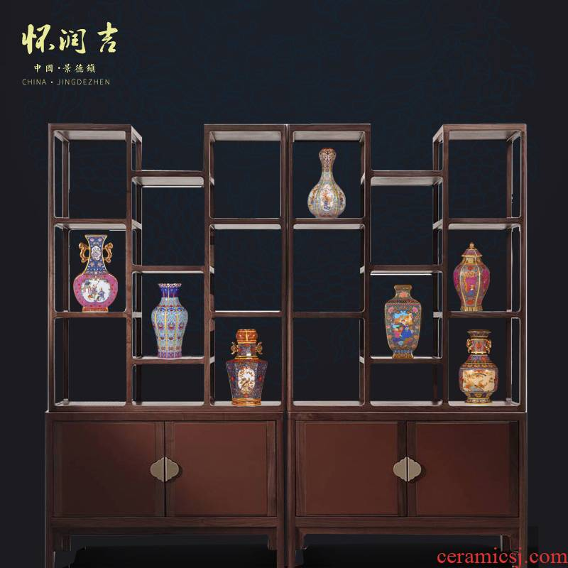 Jingdezhen ceramics vase furnishing articles colored enamel antique vase rich ancient frame TV cabinet office decoration