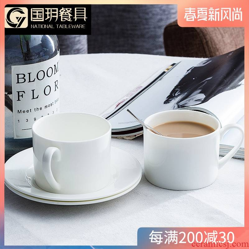 Couples ipads China coffee cups and saucers office contracted creative coffee with a spoon, European white ceramic cups in the afternoon