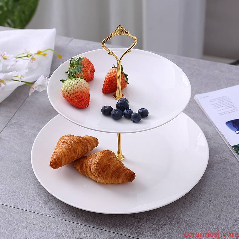 European ideas of modern ceramic three the layers of fruit bowl home sitting room tea table multilayer snacks candy cake snacks