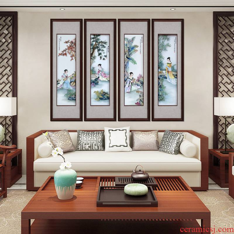 Jingdezhen porcelain plate painting unique American hangs a picture of the new Chinese style sofa setting wall of corridor corridor vertical murals characters