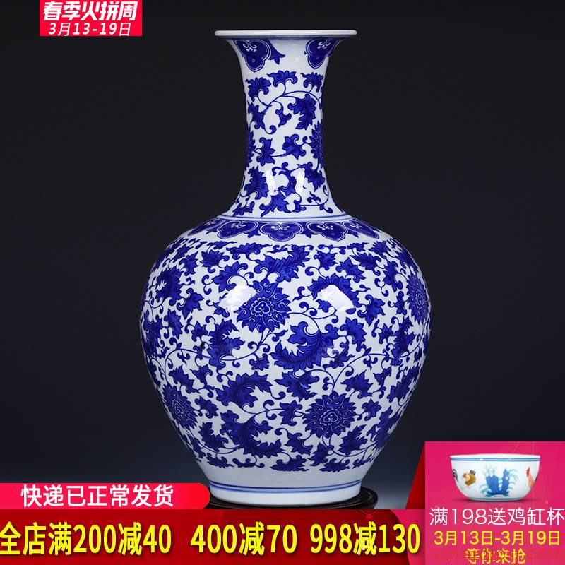 Ding the jingdezhen ceramics under the glaze color of large blue and white porcelain vase household adornment of I sitting room is placed