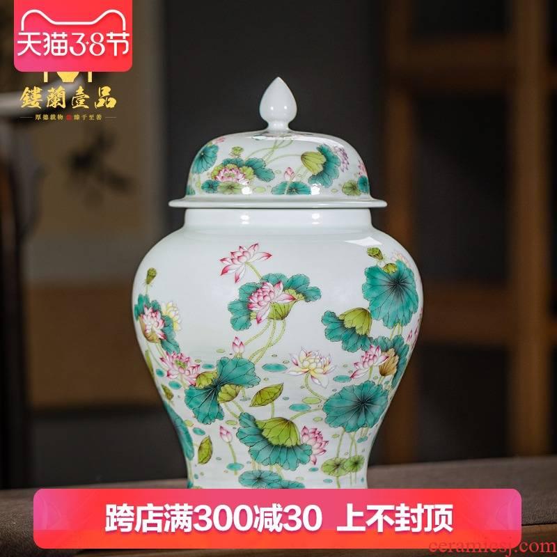 Jingdezhen ceramic all hand - made pastel lotus tea pot general large kunfu tea tea tea storage storehouse fitting