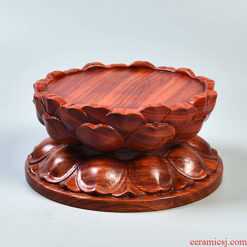 Red pear wood carving round solid wood lotus base collet guanyin bodhisattva figure of Buddha for Buddha raised pad