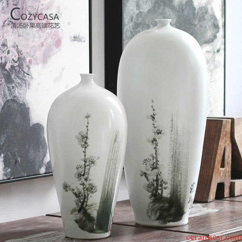 New Chinese style small flanging white MoMei New Chinese ink painting ceramic vases, the clear soup WoGuo flower vase