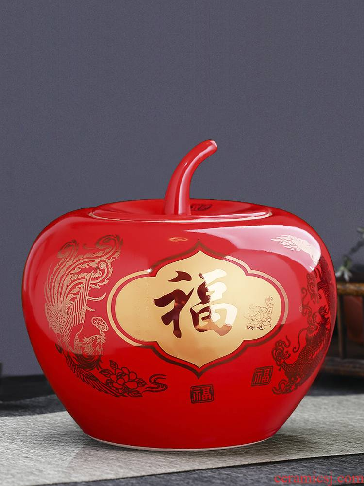 Jingdezhen ceramics red apple storage tank of Chinese style household adornment handicraft furnishing articles wedding gift sitting room