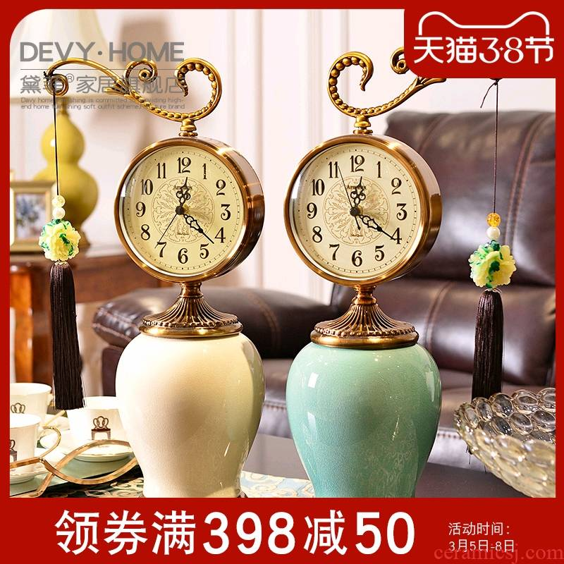 New Chinese style classical creative ceramic furnishing articles sitting room office clock decoration home desk clock between example adornment