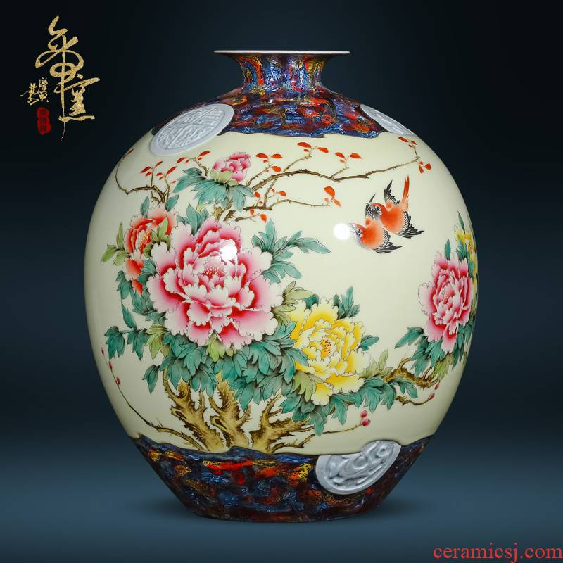 Jingdezhen ceramic Chinese style furnishing articles hand - made vases creative flower arrangement home sitting room adornment handicraft decoration collection