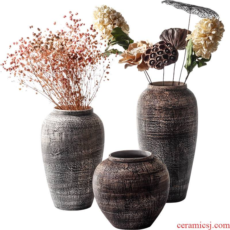 Contracted and I retro ceramic dry flower vase flowerpot earthenware jar furnishing articles sitting room adornment, fleshy flower arranging thick pot