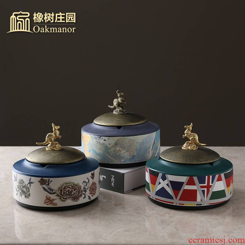 American creative ashtray move trend of Chinese style household light sitting room key-2 luxury cigar ashtray against fly ash with cover