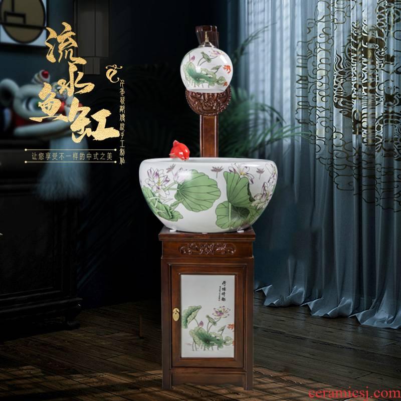 Art spirit of jingdezhen ceramic fish tank circulation water fountains ceramic filter added oxygen tank water lily cylinder cylinder big turtle