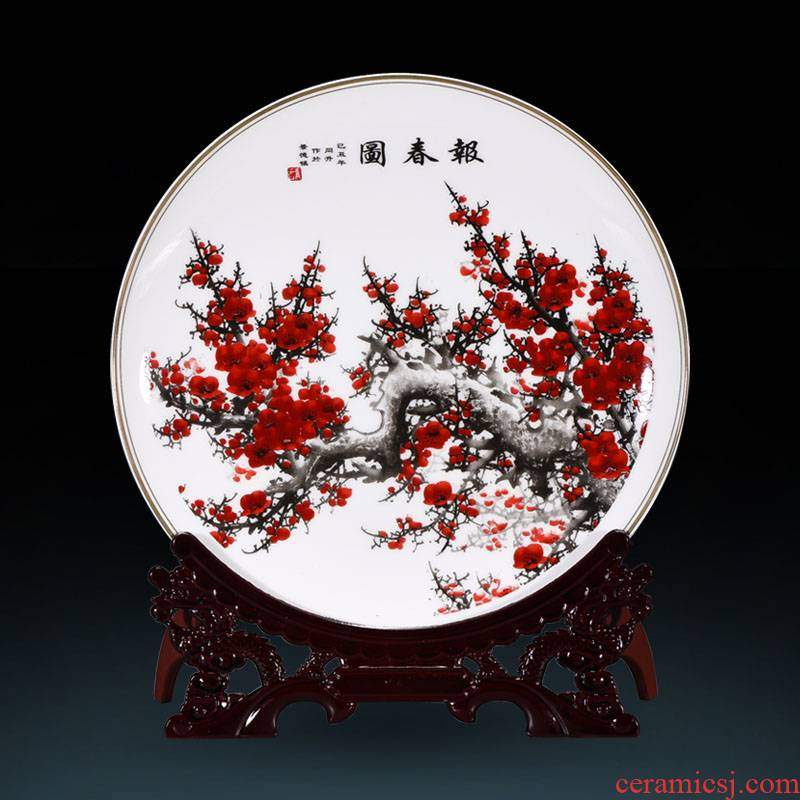 Jingdezhen ceramic powder enamel name plum harbinger figure furnishing articles home sitting room adornment TV ark, decoration decoration plate