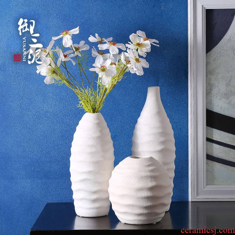 Coarse pottery white ceramic dry flower vase contracted and I the white flower arranging home sitting room ceramic furnishing articles
