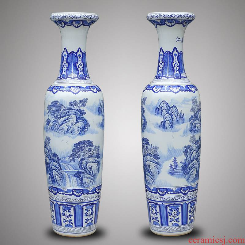Chinese antique blue and white porcelain of jingdezhen ceramics landscape painting of large vase hotel opening gifts gifts