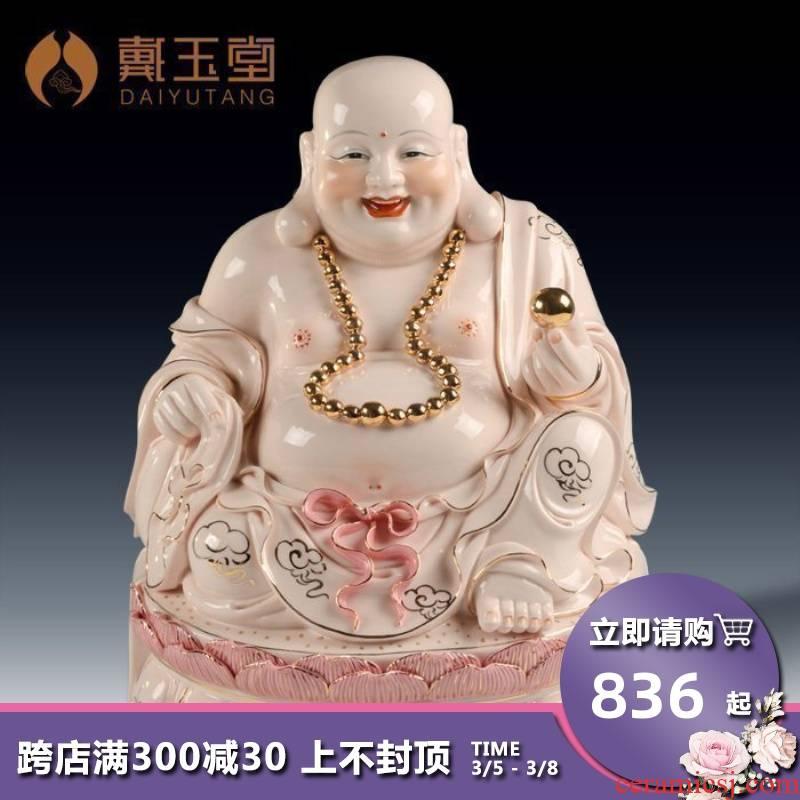 "Yutang dai home furnishing articles 11 ""13"" ancient - up ceramic Buddha/sit GuLian smiling Buddha maitreya D01-247"