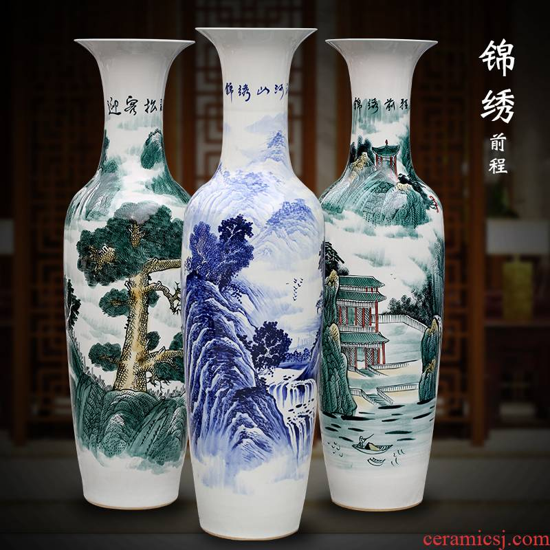 Jingdezhen hand - made bright future of blue and white porcelain vase of large living room household ceramics decoration large furnishing articles
