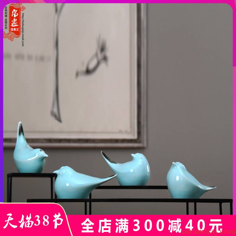 Jingdezhen ceramic furnishing articles, lovely birds of new Chinese style household modern creative example room living room TV cabinet decoration