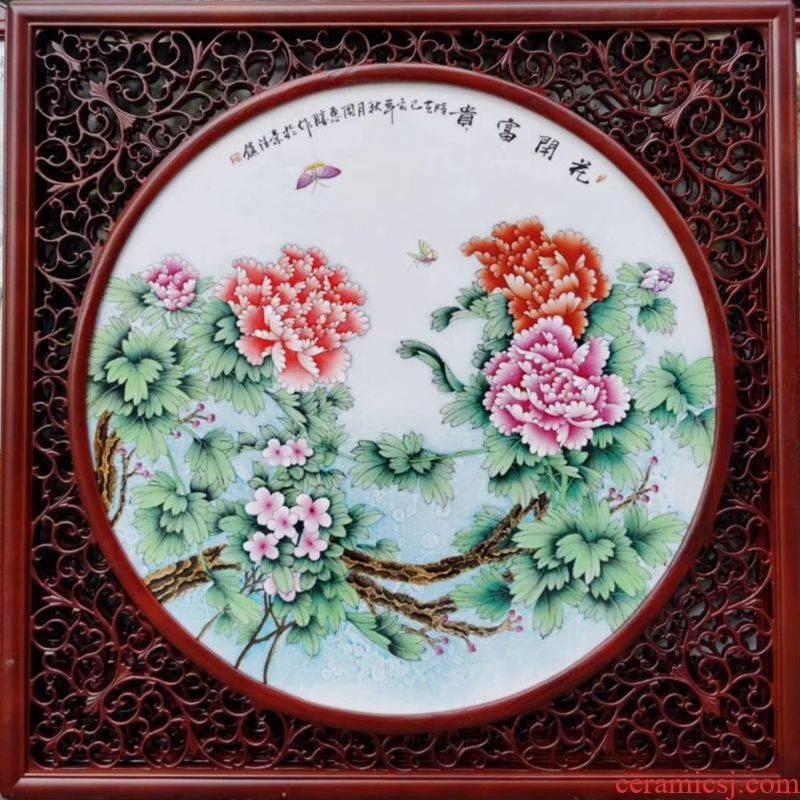 Calligraphy and painting famous jingdezhen decoration hand - made blooming flowers porcelain plate painting the living room wall paint Chinese ceramic art
