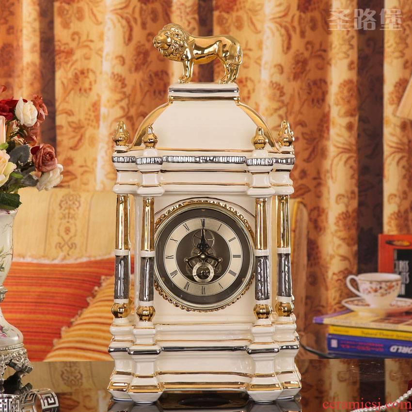 European ceramic lion clock sitting room, bedroom adornment office clock furnishing articles palace ceramics handicraft
