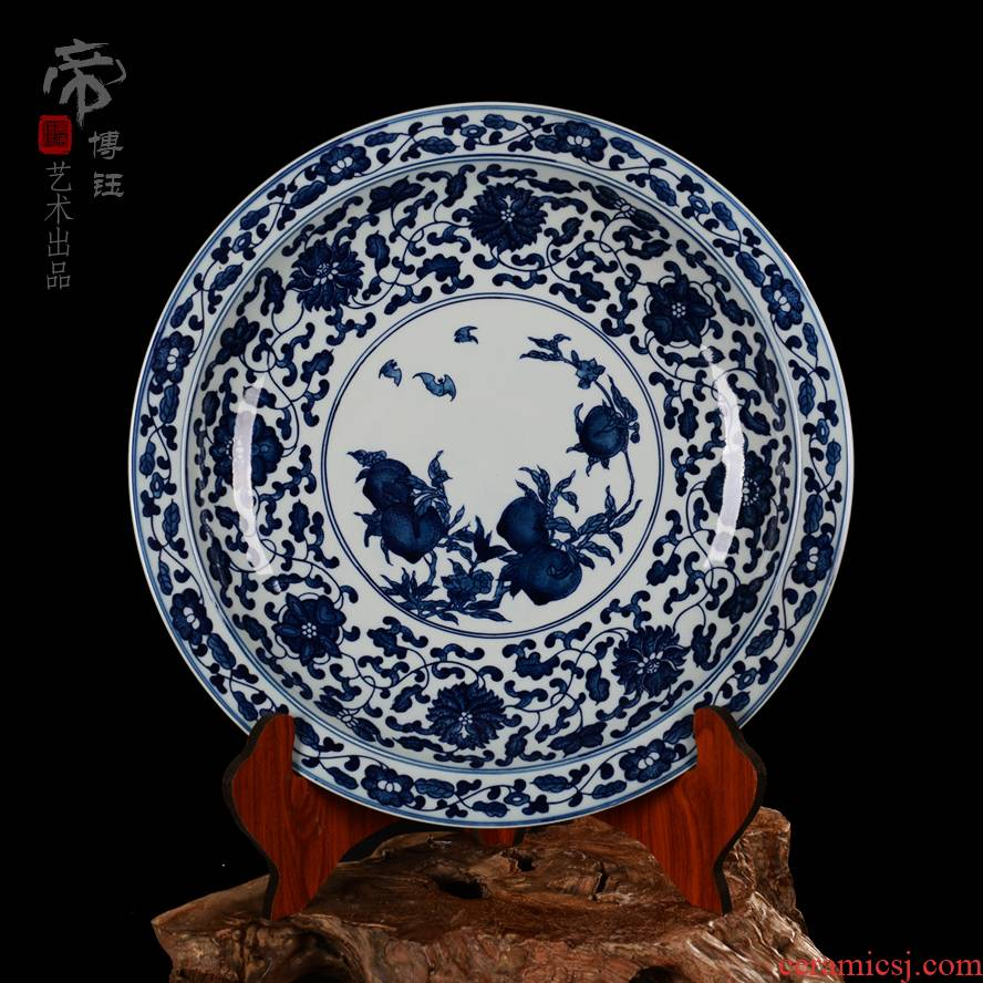 Jingdezhen ceramics fine hand draw archaize peach hang dish dish dish of blue and white porcelain home decoration hanging plate