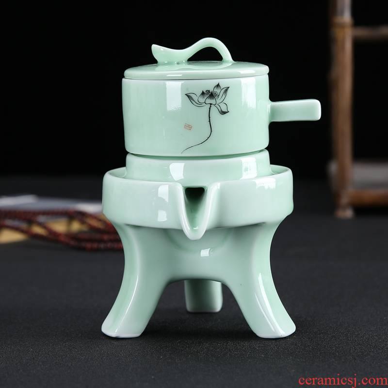 Celadon pot fortunes auto accessories cup half full automatic millstones kung fu tea set lazy people make tea