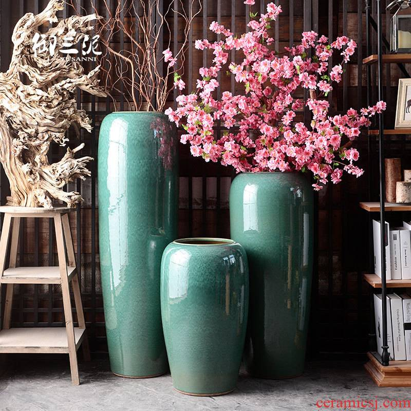 Jingdezhen ceramic vase furnishing articles sitting room ground dried flowers to decorate the courtyard villa large flower pot water tanks tank POTS