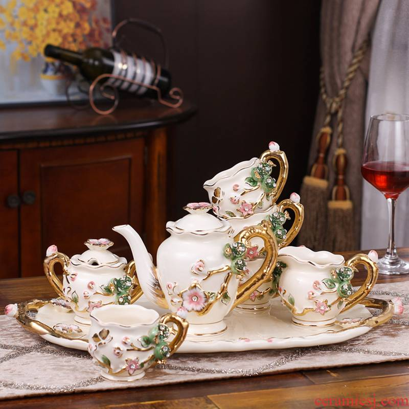 European ceramic tea set home sitting room with the tray was coffee cup suit creative wedding present for girlfriends