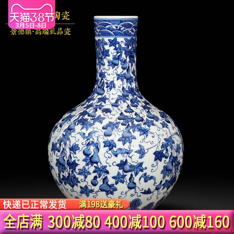 Jingdezhen ceramics hand - made archaize sitting room of blue and white porcelain vases, flower arrangement home decoration handicraft furnishing articles