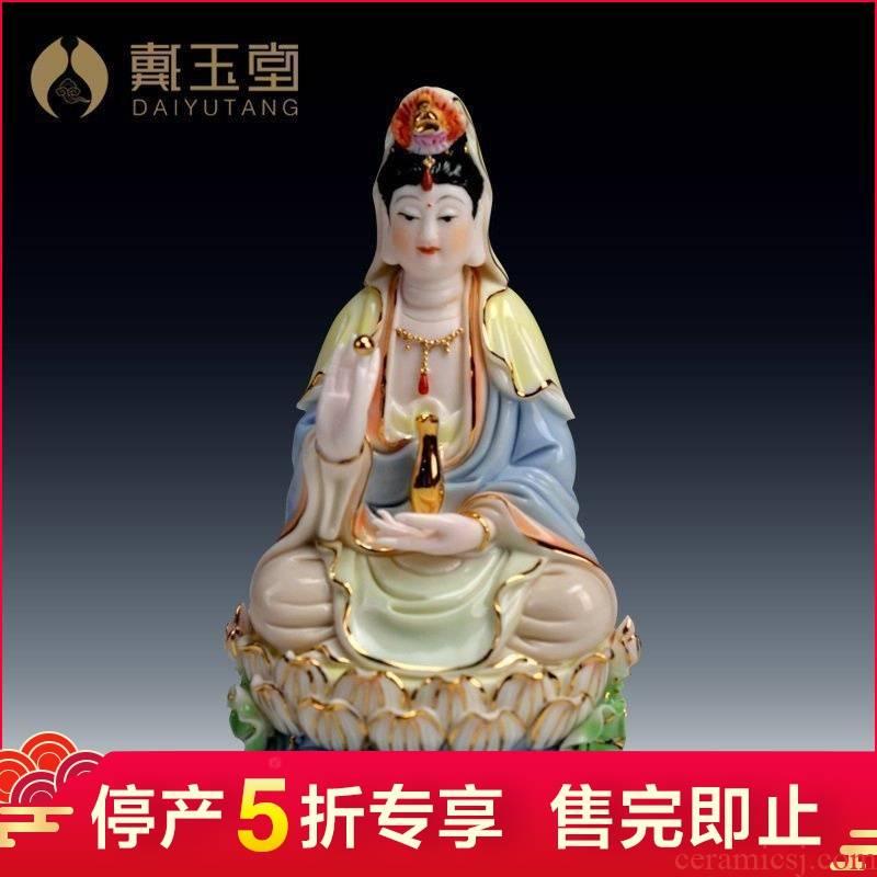 Lotus production 5 fold 】 【 tathagata avalokitesvara/double - sided goddess of mercy Buddha with ceramic Buddha