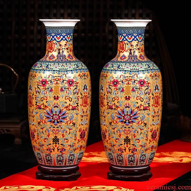 Jingdezhen ceramics of large vases, flower arrangement of modern Chinese style living room TV wine porch decoration furnishing articles