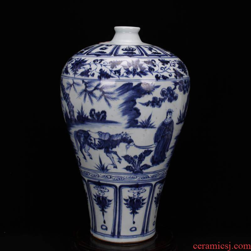 Jingdezhen ceramics yuan blue and white bottle up chasing Han Xinmei hand antique Chinese style household play antique furnishing articles