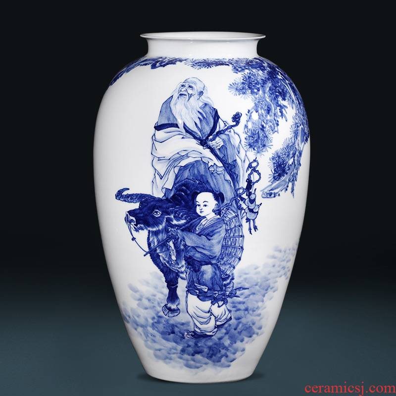 The Master of jingdezhen ceramic hand - made laozi through large blue and white porcelain vases, flower arrangement sitting room home furnishing articles