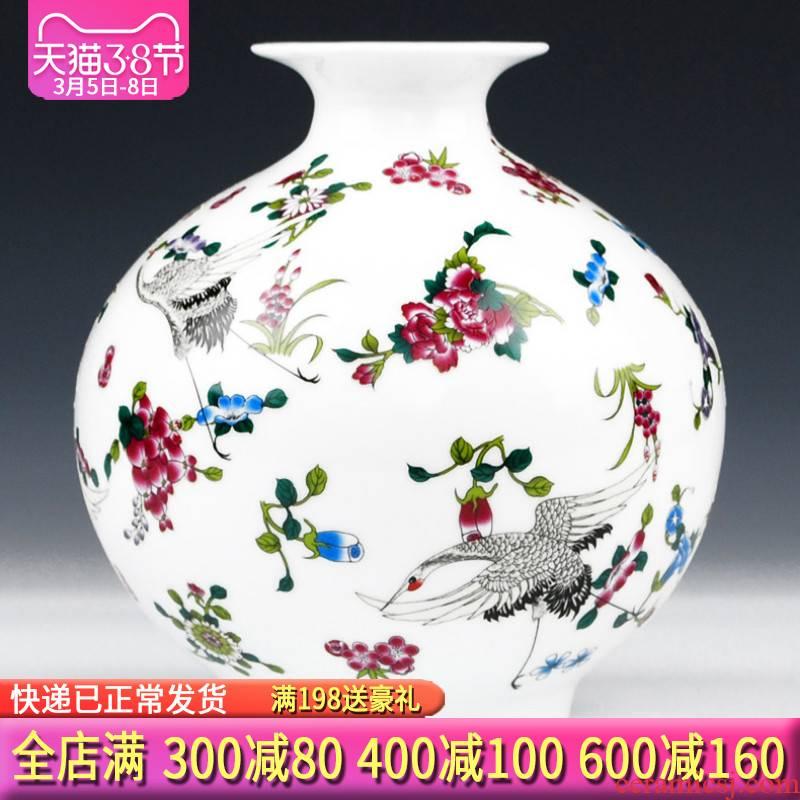 Jingdezhen ceramics luminous vase glow colored enamel bottle home sitting room adornment handicraft furnishing articles